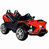 Uenjoy 2 Seats Kids Car 12V Ride On Racer Cars w/Remote Control,Spring Suspension Wheels,4 Speeds,LED Lights,Music,Red (Color: Red)