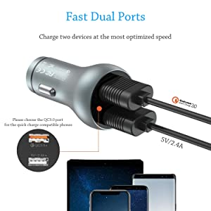 Wefunix 30W Output Dual USB Port Quick Charge 3.0 Car Charger Adapter Aluminum Alloy Fast Charger for iPhone Xs Max/XR/8Plus Samsung S10??? 9 G