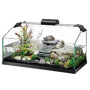 Zilla Premium Rimless Aquatic Turtle Habitat Kit, 20 Gallon Long (Tamaño: Large)