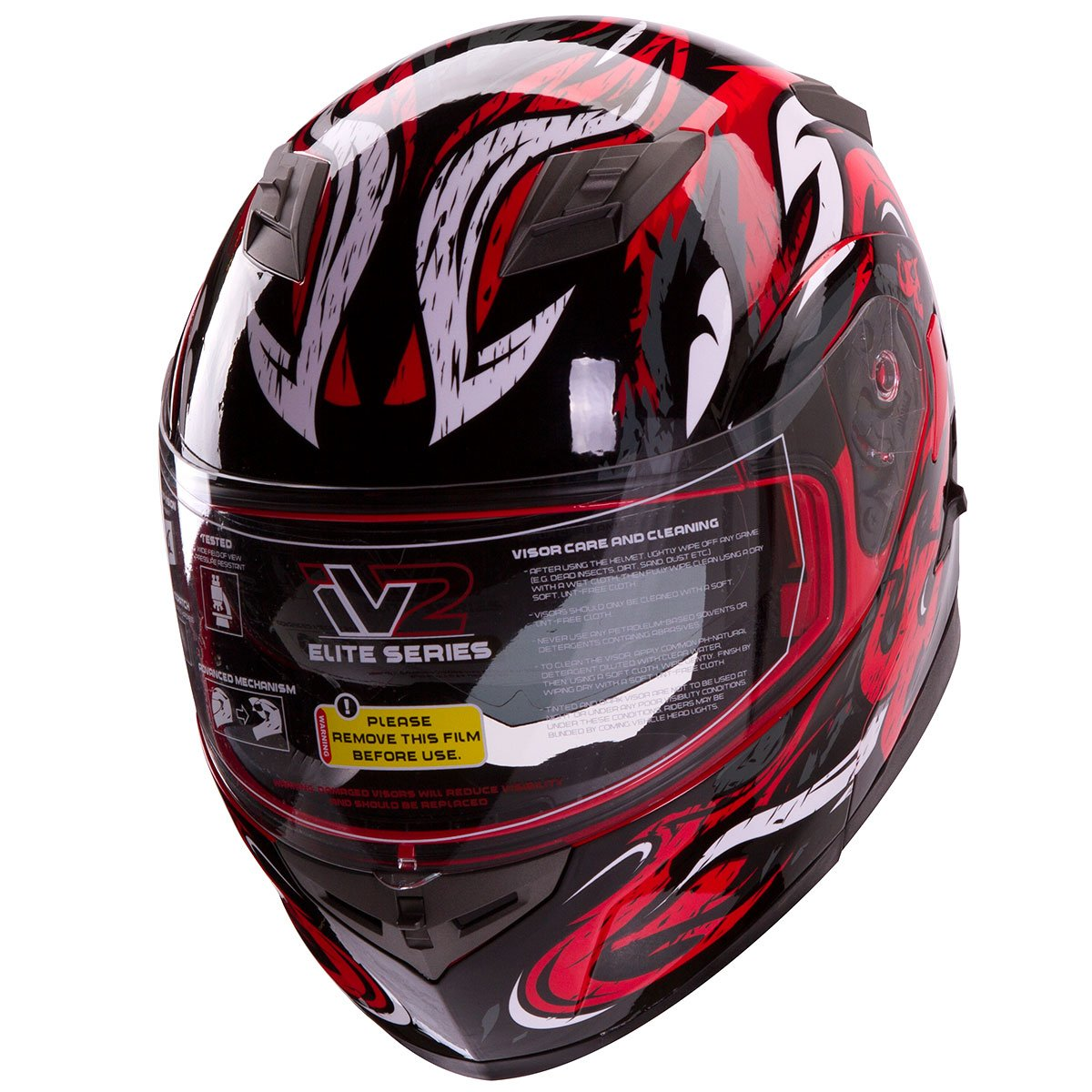 VIPER Modular Dual Visor Motorcycle / Snowmobile Helmet DOT Approved (IV2 Model #953) - RED (L)