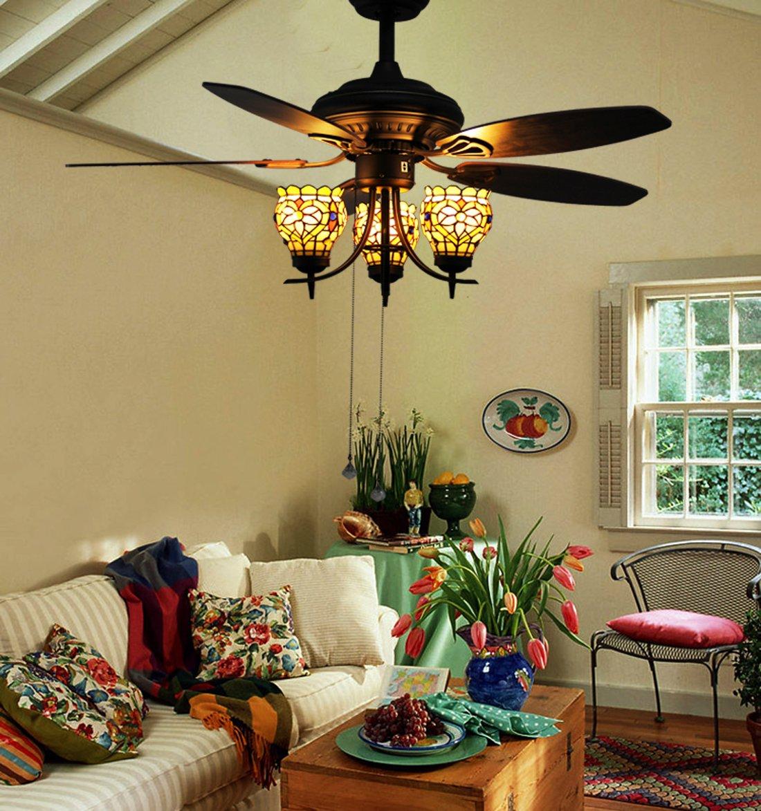 Makenier Vintage Tiffany Style Stained Glass 3-light Flowers Uplight 5-blade Ceiling Fan Light Kit 0