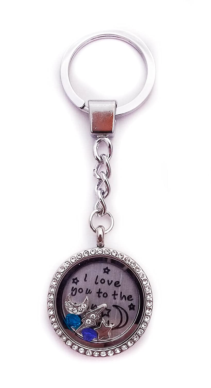 """I Love You to the Moon and Back"" By Living Memory Lockets for Less Floating Charm Keychain Key Chain Mom or Grandma"