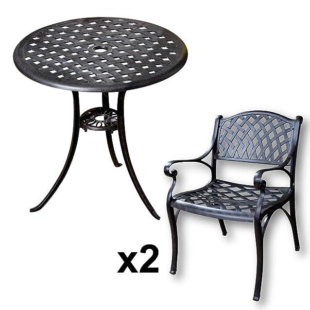 Lazy Susan - Tavolo bistro BETTY e 2 sedie da giardino - Set da giardino in alluminio pressofuso, colore Bronzo Antico (sedie KATE)