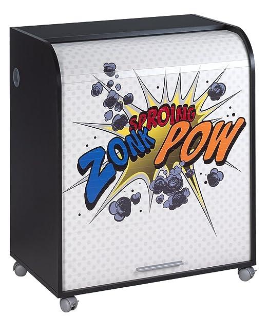 Simmob MUST095NO400 Zonk Pow mobile informatica a 400-Tenda con rotelle, motivo: legno, 53,2 x 79,2 x proprietà al 93,8 cm