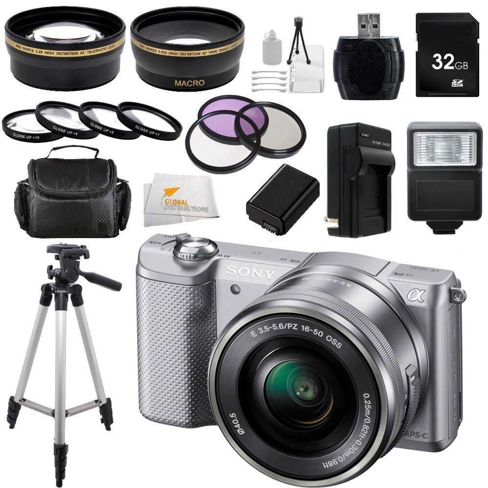Sony Alpha a5000 ILCE-5000L/S ILCE5000LS ILCE5000 20.1 MP SLR Camera with 16-50mm Lens (Silver) + 32GB Bundle 20 PC Accessory Kit. Includes Wide Angle & Telephoto Lenses  ...