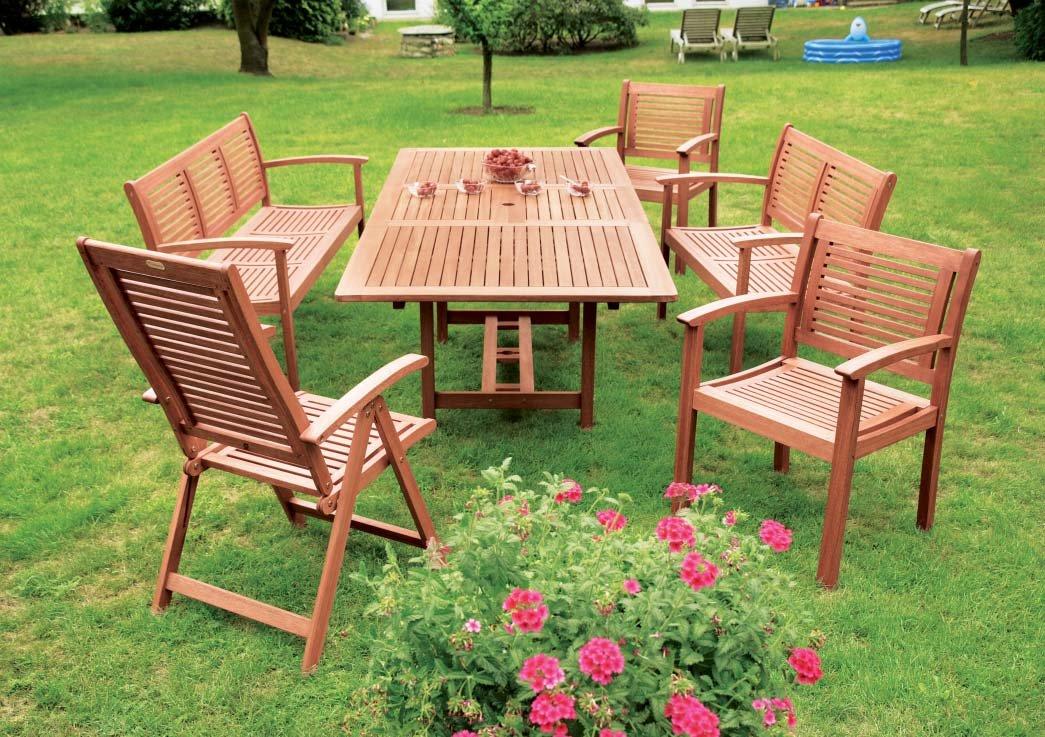 7-teilige Garnitur Cordoba aus Eukalyptus, 6x Sessel, 1x Ausziehtisch 230cm online kaufen