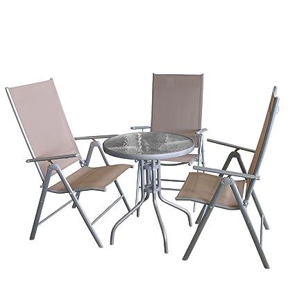 Balkonmöbel-Set Bistrotisch, Tischglasplatte geriffelt, Metall, Ø60cm, Anthrazit + 3x Hochlehner, klappbar, Metallgestell Silbergrau, Textilenbespannung Taupe, Ruckenlehne 7-fach verstellbar