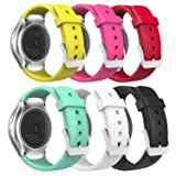 MoKo Watch Band Compatible with Gear S2, [6-Pack] Soft Silicone Replacement Sport Band Fit Samsung Gear S2 (S2 SM-R720/SM-R730 ONLY) Smart Watch - Multi Colors (Color: Black & Red & White & Barbie Pink & Mint Green & Yellow)