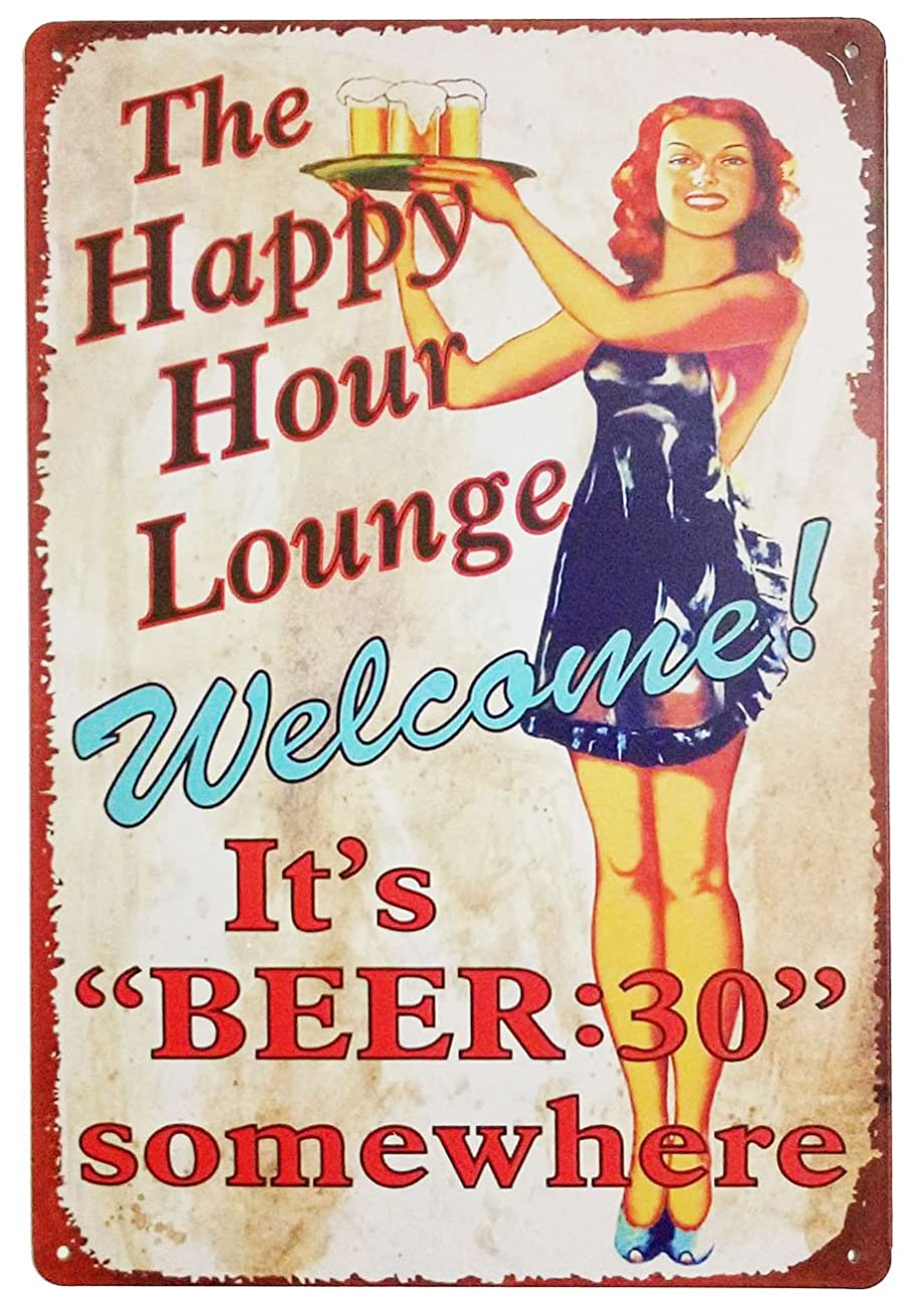 ERLOOD the Happy Hour Lounge Welcome! It's Beer Retro Vintage Decor Metal Tin Sign 12 X 8 Inches 0