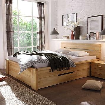 Bett mit Schubladen Kernbuche Massivholz Breite 210 cm Liegefläche 200x200 Pharao24