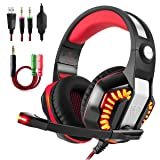 Gaming Headset, Beexcellent GM-2 Over-ear Stereo Bass Wired Hi-Fi Gaming Headphones USB&3.5mm Noise Reduction with Microphone & LED Light for Laptop, Xbox, PS4, PC, Computer-Red (Color: A-Red GM2)