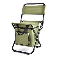 Evesun キャンプチェア、折り畳み式釣りチェアスツール アイスパックリュックサック付きビーチチェア 椅子収納ポーチ 屋外用バッグ アクティビティ (アーミーグリーン)