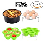 3pcs Instant Pot Accessories Set Kit Silicone Egg Bites Mold+Egg Steamer Rack+7inch Cake Pan Mold Insert Pans for 5 6 8 Quart Pressure Cooker Accessory (Color: Black+Green+Silver)