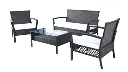 Baner Garden Outdoor Furniture Complete Patio 4 pieces PE Wicker Rattan Garden Living Room Set, N57 (black)