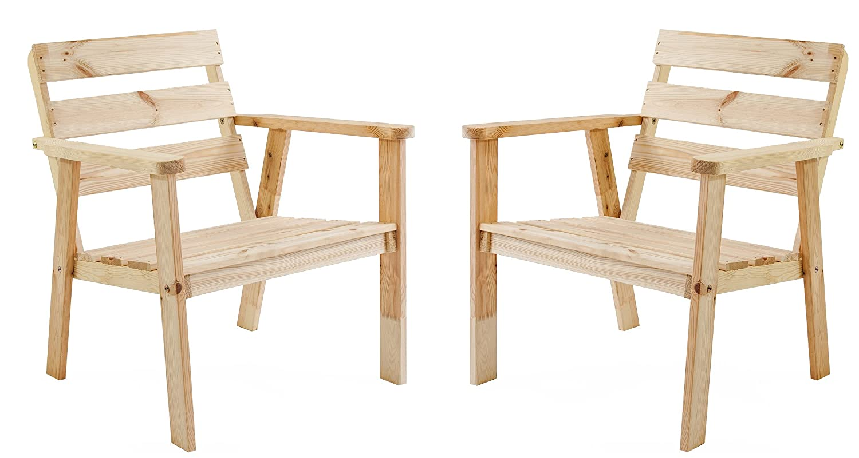 Ambientehome Gartensessel Loungesessel Sessel Gartenstuhl Massivholz HANKO, Natur, 2-teiliges Set günstig kaufen