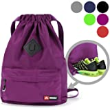 WANDF Drawstring Backpack String Bag Sackpack Cinch Water Resistant Nylon for Gym Shopping Sport Yoga (Purple6030) (Color: A-Purple with shoe pocket)