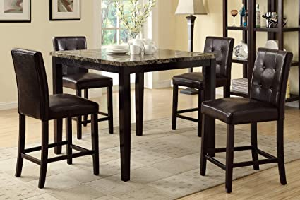 Poundex F2339 & F1144 Faux Marble Top W/ Brown Leatherette Stools Counter Dining Set