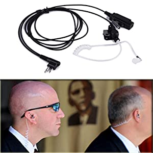 HDE Acoustic Tube Earpiece Mic for Motorola Radios PTT 2 Pin Walkie Talkie Earpiece Two Way Covert Surveillance for CP200 GP2000 CLS1450 and Other Models (5 Pack) (Tamaño: 5-Pack)