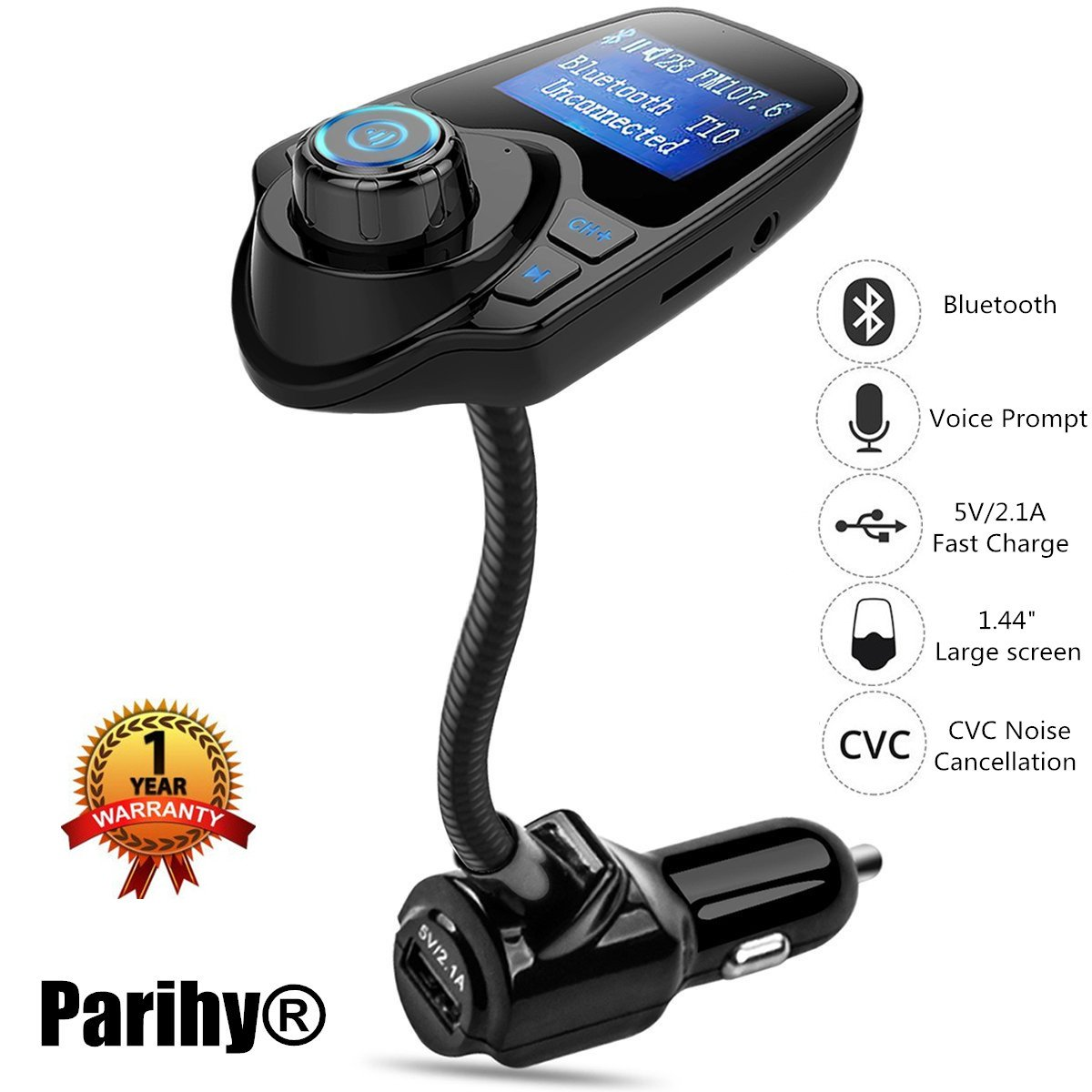FM Transmitter, Parihy® Bluetooth Car Radio Adapter for Music W USB Charger Kit Support Hands Free Calling, TF/SD Card Mp3 Player for iPhone, Samsung Cellphone & Pad Any Bluetooth Devices (B2)