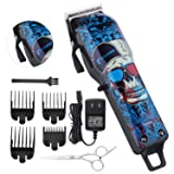 Professional Cordless Hair Clippers Beard Trimmer For Men Kids Professional Wireless Hair Cutting Kit Set with Taper Lever, Rechargeable Li-ion Battery 2000mAh Heavy Duty Motor, Detachable Cord (Color: blue)