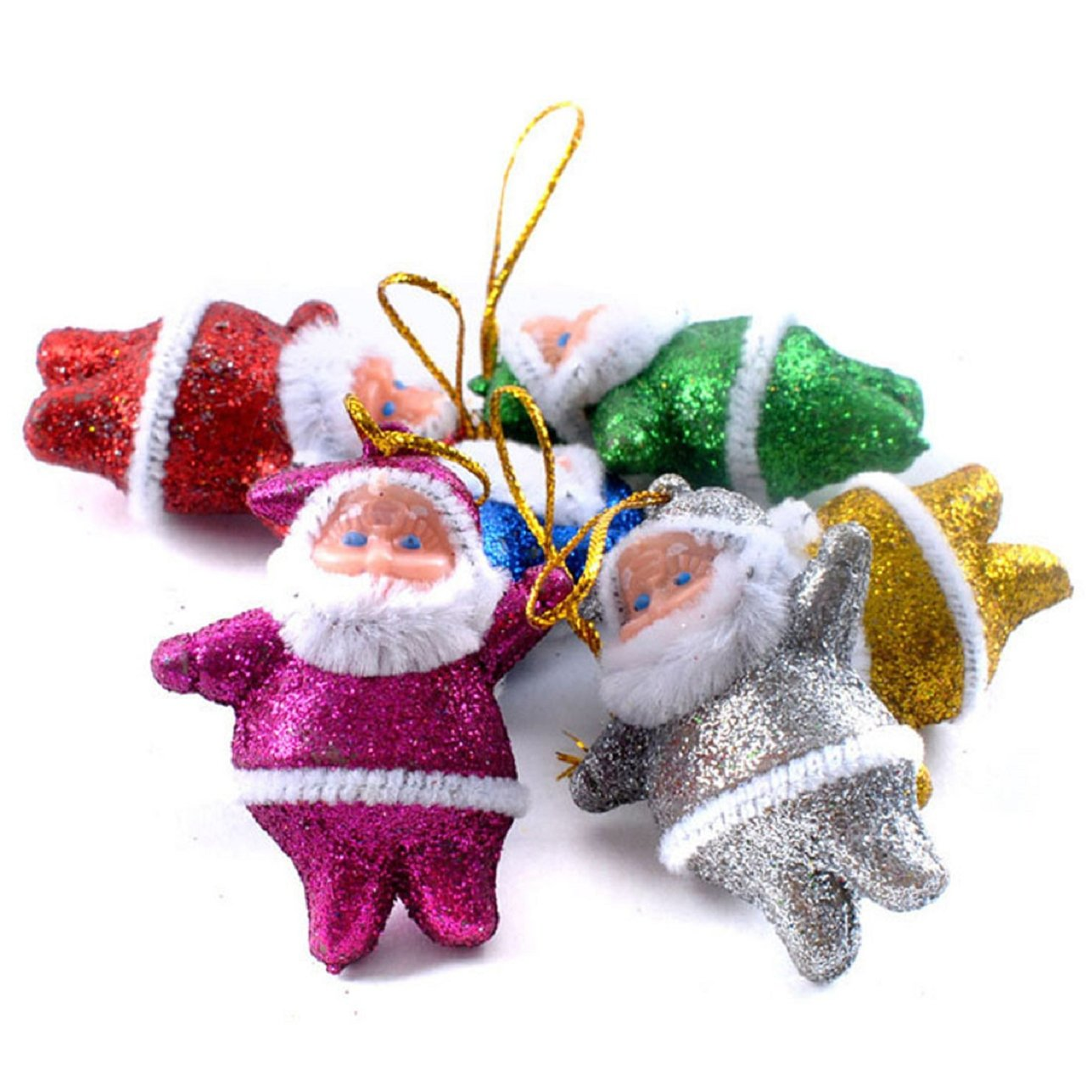 Sandistore 6PC Colorful Christmas Santa Claus Party Ornaments Xmas Tree Hanging Decoration