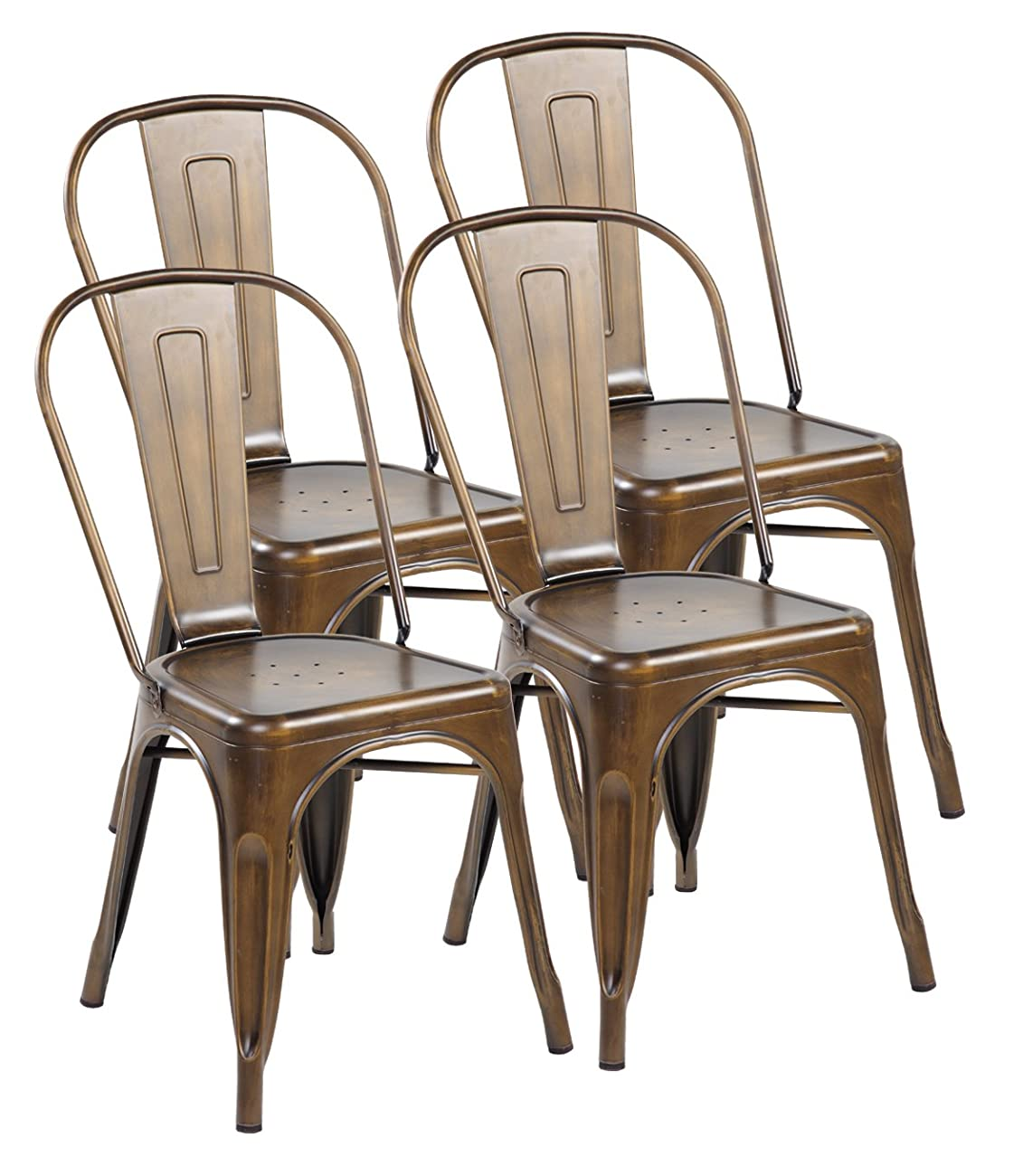 United Chair Tolix Style Metal Stackable Kitchen Dining Chairs with Back Set of 4 Antique Copper 3004-AC-4 0