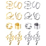 Blulu 8 Pairs Non Piercing Stainless Steel Ear Cuff Set Cartilage Cuff Clip On Earrings Fake Ear Cuff for Women (Steel and Gold) (Color: Steel and Gold)