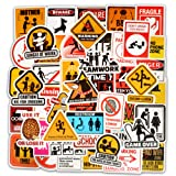 Honch Vinyl Funny Warning Traffic Sign Stickers 50 Pcs Bumper Stickers Pack Decals for Laptop Ipad Car Luggage Water Bottle (Color: Traffic)