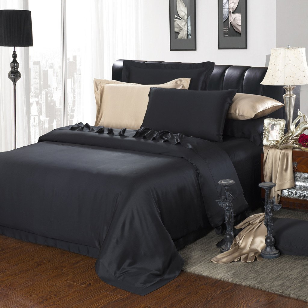 Orifashion Limited Edition 7-Piece 100% Silk Cool Black Solid Color Bedding Set, California King Size
