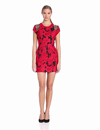 Parker Women's Tia Cap Sleeve Brocade Dress with Ladder Detail, Poinsetta, X-Small