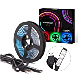 WOWLED USB LED Lights, RGB USB Powered Strips with 3-Key Mini Remote Controller, 5ft LED Strip Light 5050 SMD, Mood Lighting DC 5V for Halloween Christmas