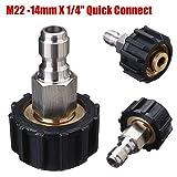 Water Gun High Pressure Washer Foam Lance Male Adapter Connect 14Mm M22 X 1/4''
