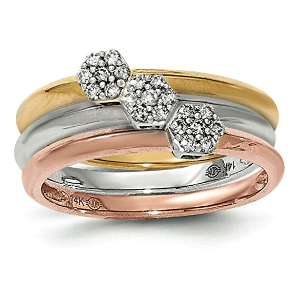 14ct Yellow White and Rose Gold Diamond Three Ring Set
