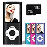 Lonve MP3 Player MP4 Player 16GB Portable Media Music Player with FM Radio Voice Recorder Supporting MP3 WMA WAV Black (Color: Black)