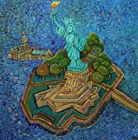 Statue of Liberty with Liberty Island.