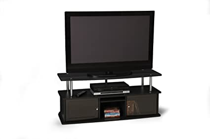 TV Stand w 3 Cabinets in Black Finish