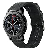 Samsung Gear S3 Classic/Frontier watch Band, Olytop 22mm Width Nylon Canvas Fabric Replacement Sport Strap Wristband for Moto 360 2nd Gen 46mm/LG G Watch W100,R W110 Smart Watch (Black, 22mm) (Color: Black, Tamaño: 22mm(Gear S3))