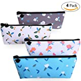 Pencil Case, Canvas Pen Pouch, Colored Cute Pencil Bag, Student Stationery Holder for Pens, Pencils, Highlighters, Gel Pen, Markers, Kawaii Makeup Bag, Floral Cosmetic Bags, Zipered 4 Pack (Color: Floral-4 Pack, Tamaño: 7.68'' X 3.03'')