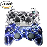 [2 Pack] Wireless Bluetooth Controller for PS3, Sixaxis Double Vibration Gamepad Remote for Playstation 3 with USB Charging Cable (White Skull + Blue Lightning) (Color: White Skull + Blue Lightning)
