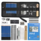 YOTINO 35pcs Drawing and Sketching Pencil Set, Professional Sketch Pencils Set in Zipper Carry Case, Art Supplies Drawing Kit with Graphite Charcoal Sticks Tool Sketch book for Adults Kids (Color: 35-piece, Tamaño: 240 X 207)