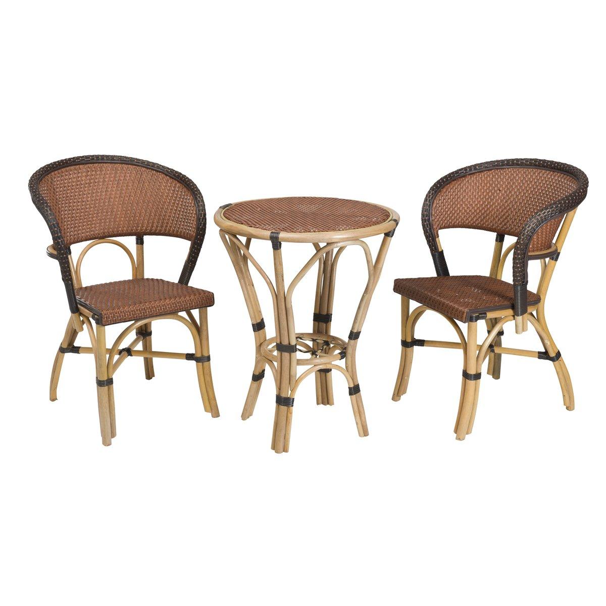 Rattan-Möbel Set BISTRO Mokka n°3 - Gartenmöbel aus Polyrattan/Bambus - Braun