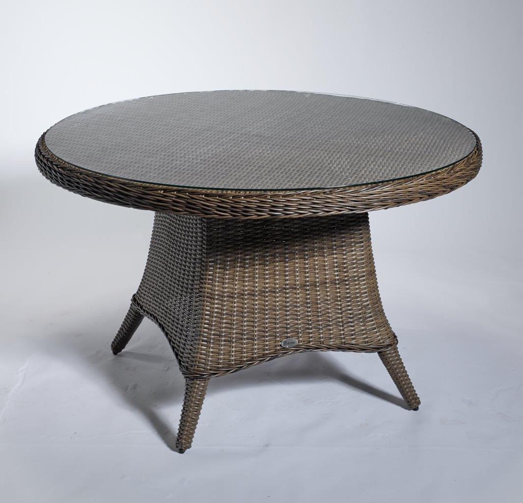 Gartentisch 'Round' braun 120 cm Outdoortisch Beistelltisch Tisch rund Rattan