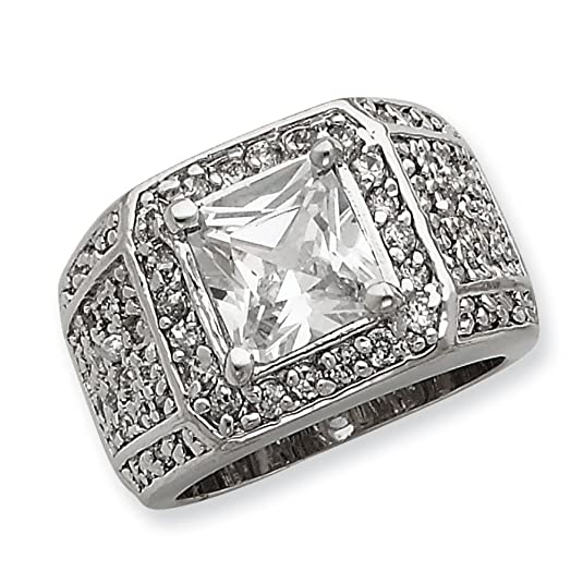 Sterling Silver Mens CZ Ring - Ring Size Options Range: R to V