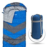 Abco Tech Sleeping Bag – Envelope Lightweight Portable, Waterproof, Comfort with Compression Sack - Great for 4 Season Traveling, Camping, Hiking, Outdoor Activities & Boys. (Single) (Blue) (Color: Blue)