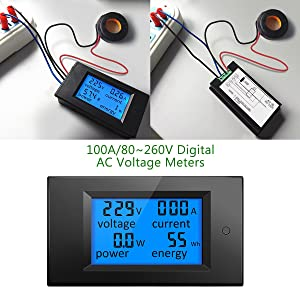 ELEGIANT AC 80-260V 100A Digital Current Voltage Amperage LCD Power Panel Meter Power Energy Meter Ammeter Voltmeter AC Volt Amp Testing Gauge Monitor