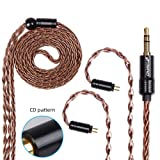 FDBRO 8-core Earphone Upgrade Cable CD Texture Plug Replacement Cable Detachable Ear-Hook Type OFC Silver Plated Earphone Cable for UM3X ES3 ES5 W4R ZS5 ZS6 ZS10 ZST ZSR (0.78mm 2PIN, Bronze+3.5mm) (Color: Bronze+3.5mm, Tamaño: 0.78mm 2PIN)
