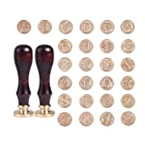 PandaHall Elite Brass Retro Alphabet Initials Wax Sealing Stamp, 26 Letters A-Z Wax Seal Stamp with 2 pcs Wooden Handle for Post Decoration DIY Card Making, Golden