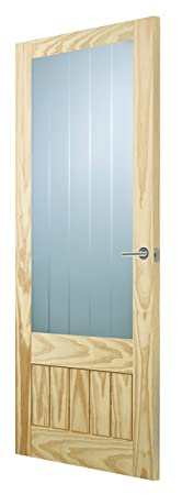 Premdor 1738 686 x 1981 x 35 mm Country Half Light Etched Glass Glazed Interior Door - Clear Pine