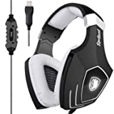 [2017 Newly Updated USB Gaming Headset] SADES A60/OMG Computer Over Ear Stereo Headsets Heaphones with Microphone Noise Isolating Volume Control LED Light (Black+White) for PC and MAC (Color: A60WHITE)