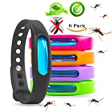 Mosquito Repellent Bracelets - Natural Deet Free - Waterproof Anti Mosquito Band - Bug & Insect Protection Wrist Bands for Adults & Kids, Perfect for Indoor Outdoor Travel Camping Hiking- 6 Pack (Color: Multicolor)